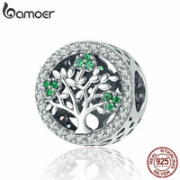 BAMOER Solid 925 sterling silver charm  Tree for life with Green CZ Fit bracelet