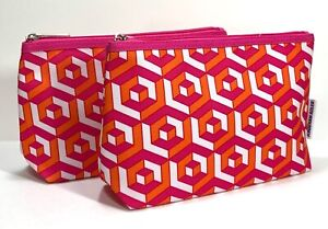 2x Clinique Cosmetic Makeup Bag by Jonathan Adler (Pink,White & Orange)