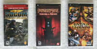 Socom, Untold Legends, Dungeon Siege PSP Game Lot of 3 Tested Working