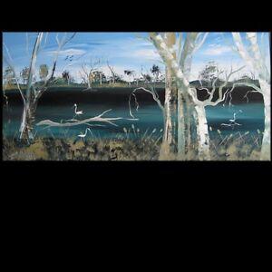 MASSIVE ORIGINAL LANDSCAPE RIVER 1.8 mtr  ABSTRACT  132013 Lynne Pickering huge
