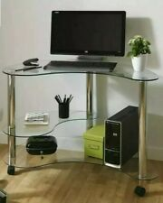 Kidney Shaped Clear Glass Computer Desk - Brand New- Boxed rrp £109!