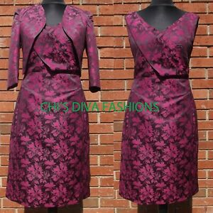 Beautiful Patterened Occasion Mother Of Bride Dress With Bolero Size UK 10-20