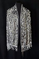 B45 Round Sequin Metallic Black Silver Lace Scallop Boutique Shawl Scarf