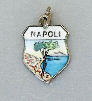 NAPOLI Italy Vintage Silver Enamel Travel Shield Charm for Souvenir Bracelet