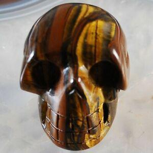 W054 48x37x35 Tiger Iron Gem Carved Skull Display Decoration