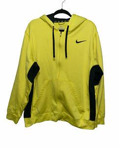 Nike Therma-Fit Full Zip Up Sweatshirt Yellow Long Sleeve Hoodie Men's Size XL