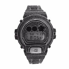 Custom CASIO GSHOCK DW6900 FULL ICED OUT BLACK Lab Diamonds 15CT Hip Hop Bling