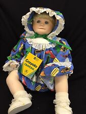 "Holly Hunt Porcelain Baby Toddler Doll Crayon Dress Bonnet 22"" Blonde Hair"