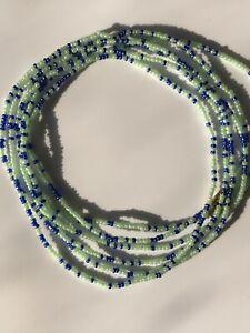 """African Waist beads /Tie On Waist Beads Belly Chain  Orange & Blue 26"""""""