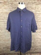 Nat Nast Blue Geometric Men's Short Sleeve Lyocell / Silk Shirt XL - D1