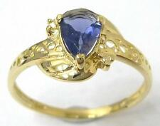 FINE 9KT YELLOW GOLD PEAR CUT IOLITE & DIAMOND RING SIZE 7