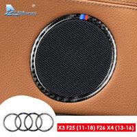 For BMW X3 F25 X4 F26 Carbon Fiber Car Interior Door Speaker Cover Trim Sticker