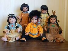 Lot of 5 G. Perillo 1992-1994 Native American Child Porcelain Dolls