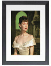 BLACK FRAMED AUDREY HEPBURN GLAMOUR - GLOSSY PRINTED PICTURE 325mm x 425mm