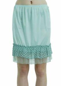 Women Bubble Lace Satin Half Slip Skirt Extender