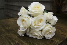 9 IVORY (PALE CREAM) SILK ROSES & ROSE BUDS TIED BUNCH / SMALL BOUQUET