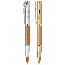 Solid Brass Rifle Clip Ballpoint Satin Gold Satin Chrome & Bamboo 2 pc set lot