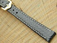 NOS Hirsch Forest Ladies Black Leather Watch Band w Gold Tone Buckle 12mm Unused