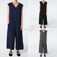 UK Womens Sleeveless Dungaree Beach Overalls Holiday Playsuits Romper Jumpsuits