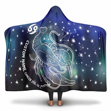 Personalized Cancer Horoscope Zodiac Star Sign Hooded Blanket
