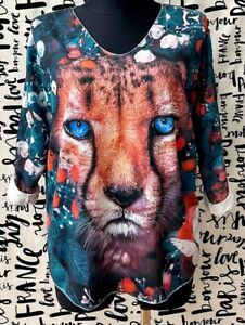 ITALY große Gr.46,48,50 Tunika,Longshirt,Shirt,lurex,motive Muster,Oversize,NEU