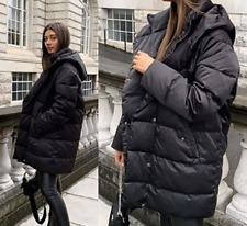 Zara Down Feather Water Repellent Puffer Coat Jacket With Hood S M L XL 7522/040