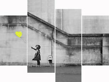 Super Extra Large Yellow Balloon Banksy Multi 4 Panel Set Canvas Picture Prints