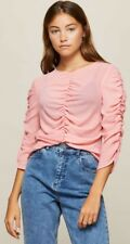 Miss Selfridge PINK RUCHED SHEER BLOUSE Size 8 BNWT £32 Summer Coral Top