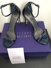 NIB $398 Stuart Weitzman Nudistsong Patent Leather Sandals Jet Blue 8