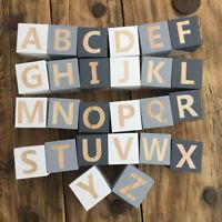1Pcs Alphabet Wooden Block Letter Cube Nursery Decor Baby Stacking Education Toy
