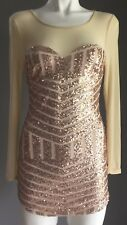 Reverse Gold Sequin & Mesh Long Sleeve Mini Dress Size S/6