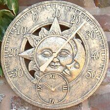 Termómetro Reloj de estación de pared jardín al aire libre de interior 12 pulgadas Sol y la Luna
