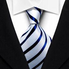 Classic Striped Men's Tie Blue White JACQUARD WOVEN Silk Ties Suits Necktie N059