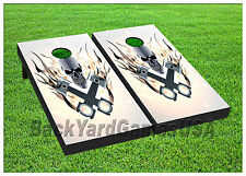 VINYL WRAPS Cornhole Boards DECALS White Skull BagToss Game Stickers 593