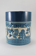 Vintage Oriental Blue Willow Tin Lidded Canister Can Container Jar