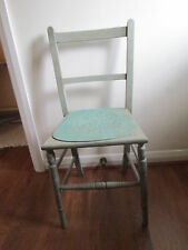 Upcycled old chair, duck egg blue and  green florence colour. Annie Sloan. Holes
