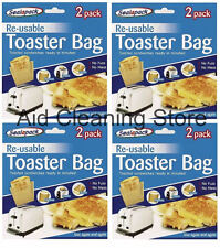 8 x Reusable Toaster/Toast Bags/Pockets Toasty/Toastie Sandwich/Toastabags