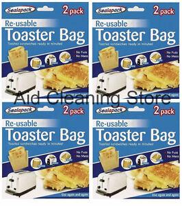8 x Reusable Toaster/Toast Bags/Pockets Toasty/Toastie Sandwich/Toastabags