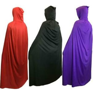 ADULT 65'' HOODED LONG CLOAK FANCY DRESS COSTUME CAPE CLOAK ROBE