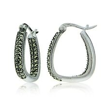Sterling Silver Marcasite Square Hoop Earrings
