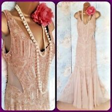 adrianna papell 20s deco gatsby bead wedding gold evening prom gown dress 12 40
