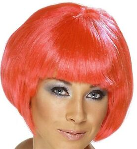 Adult Glamour Babe Short Ear Length Straight Hair with Bangs Pink Costume Wig