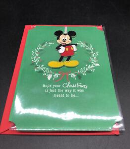 Hallmark Disney Card Mickey Ornament Green Card Christmas Card With Ornament