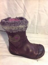 Girls Clarks Purple Leather Boots Size 6G