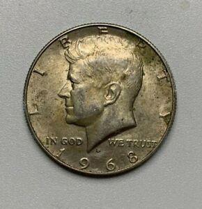 1968 Kennedy Half Dollar 40% Silver BU Circulated US Coin