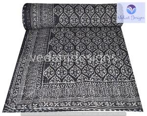Indian Handmade Block Kantha Quilt Reversible Bedspread Double Cotton