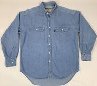 Vtg 90's Levi's Mens Denim Shirt Long Sleeve Button Up Pockets Red Tab Size L