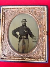 Civil War Period Ambrotype Of Union Soldier Wearing Sword Sash