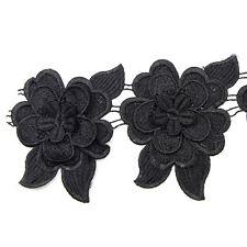 3D schwarz Blumen Lace Spitzen Brautkleid Sticken Kleidung Applikation nähen neu