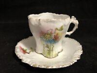 Vintage Hand Painted Floral Demitasse Tea Cup & Saucer AS IS